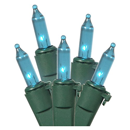 LiteSource 04108 - 100 Light 33' Green Wire Teal Miniature Christmas Light String Set with 4' Spacing