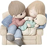 Precious Moments Couch with New 192019 Makes Love Stronger Couple with Baby Bisque Porcelain Figurine, Multi