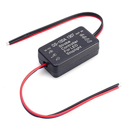 Qiilu Strobe Contrôleur Flasher pour Voiture GS-100A 1307 LED Arrêt De Frein Lumière Strobe Flash Module Contrôleur AP