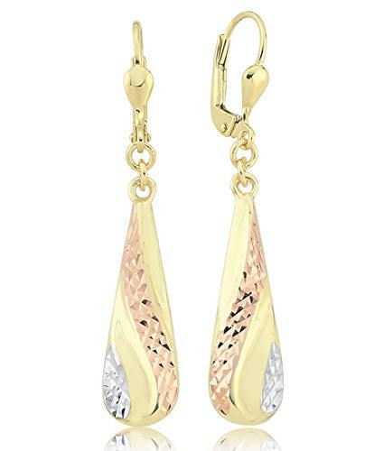 PARGOLD Ohrhänger tricolor 585 Gold - Damen 14 Karat Gelbgold - Tropfen Ohrringe - 585er Gold Ohrringe ideale Muttertag Geschenk