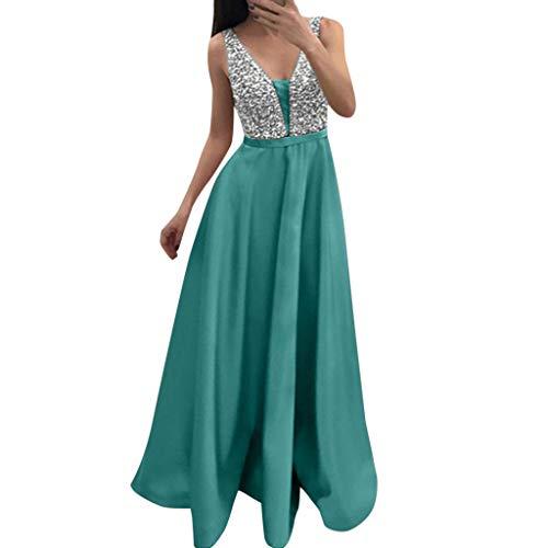 Severkill Women's Sexy Deep V Neck Sequin Glitter Bodycon Stretchy Party Floor Length Maxi Dress Green