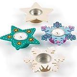 Baker Ross EX7082 Star & Snowflake Tealight Holders, Assorted