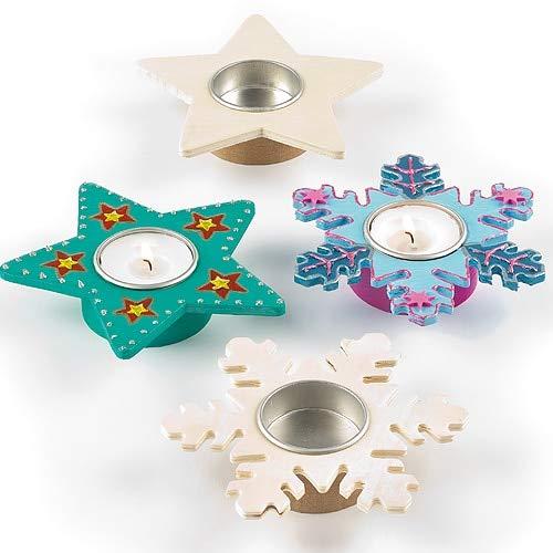 Baker Ross EX7082 Teelichthalter aus Holz mit Sternen und Schneeflocken, 4 Stück, Sortiert