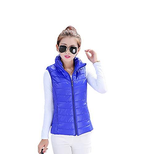 ZEVONDA Mujer Chaleco Invierno - Ligero Acolchado Chaquetas de Cremallera Capucha Plegable, Azul Real/EU XS = Tag M