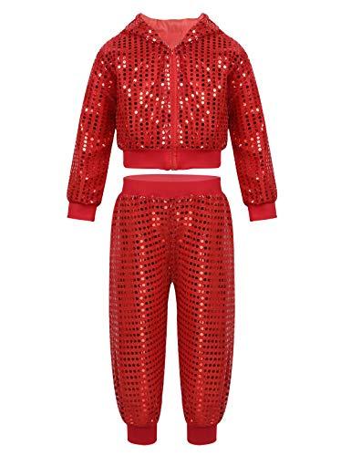 CHICTRY Jungen Mädchen Tanzbekleidung Set Glänzend Pailletten Tanz Kleidung Outfit Jazz Hip Hop Dance Kleidung Trackusit Anzug Shirt und Hose Rot 140-152/10-12Jahre