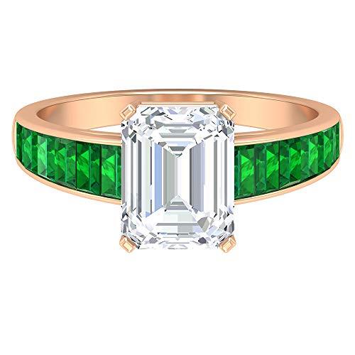 Rosec Jewels 14 quilates oro rosa baguette Octagone Green Moissanite Esmeralda creada en laboratorio.