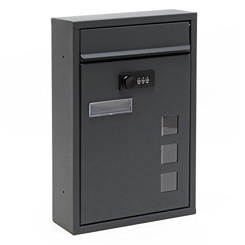 Moderner Briefkasten Anthrazit Zahlenschloss Wandbriefkasten pulverbeschichtet