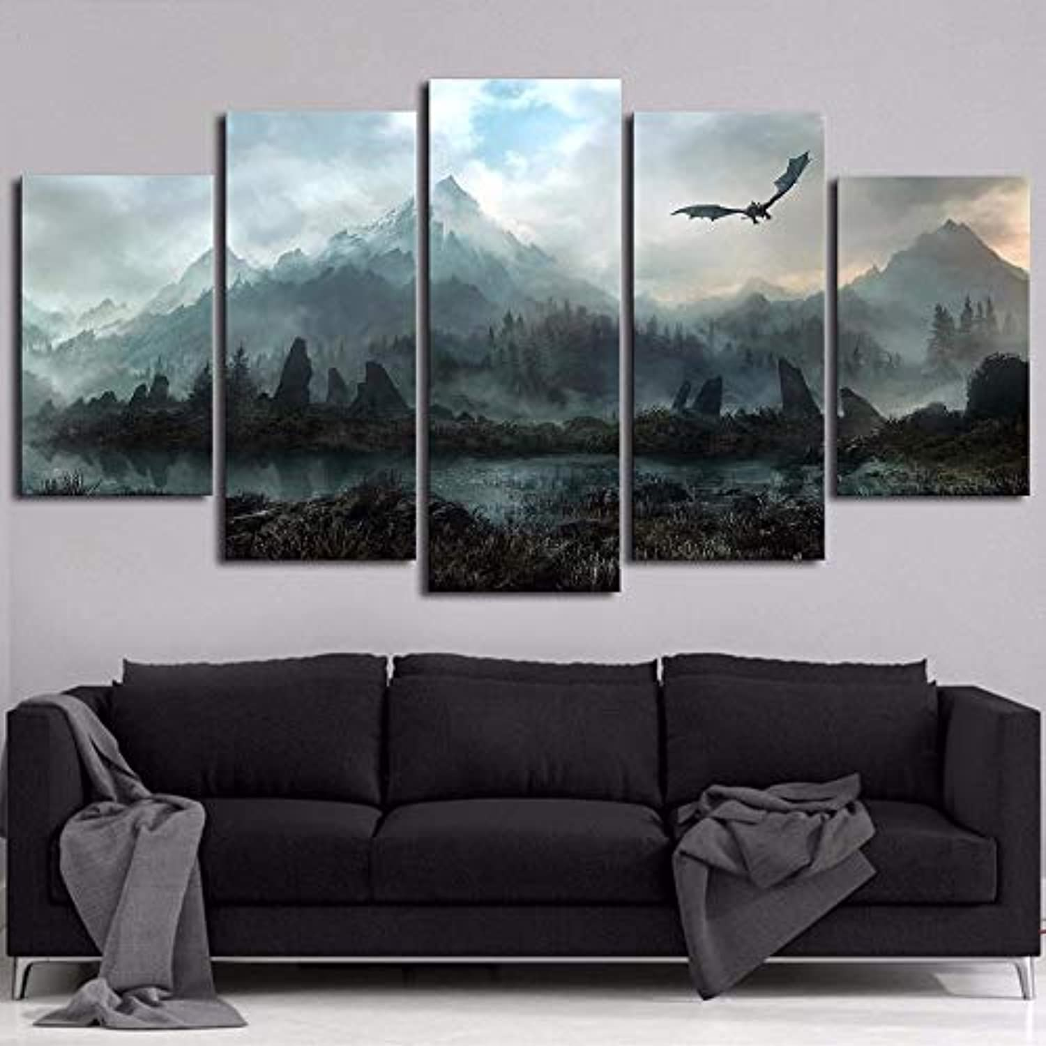 Fashion Home Decoration Paintings On Canvas Wall 5 Panels Mountain Modular Vintage Pictures for Living Room HD Printed