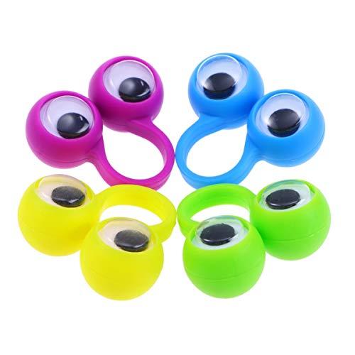 NUOBESTY 12 unidades de marionetas de dedo de plástico con forma de ojos, juguete educativo inteligente, divertido juego de dedos para niños, regalo de fiesta, color aleatorio