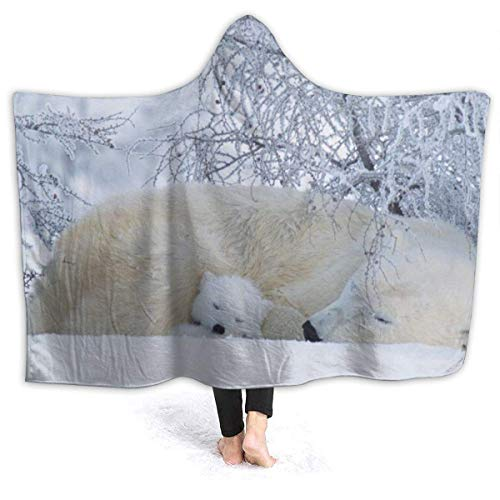 Dor675ser Hooded Blanket, Winter White Bear Hoodie Blanket Coral Plush Ultra Soft Plush Leisure Wear Hooded Throw Wrap 40 x 52 Inch Wearable Blanket with Hood