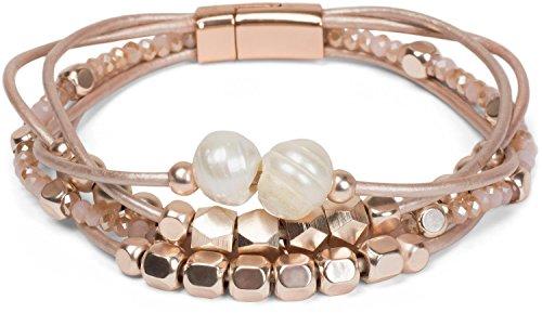 styleBREAKER Armband mit feinen Bändern, Perlen und Schmucksteine, Magnetverschluss, Armschmuck, Schmuck, Damen 05040134, Farbe:Rosegold