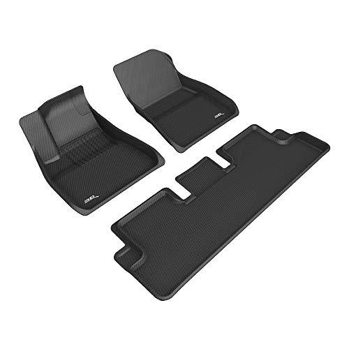 3D MAXpider Tesla Model 3 2020 Passgenaue Allwetter Fußmatten Gummi Auto Matten Fussmatten Gummimatten, Kagu Serien (1. und 2. Reihe, Schwarz)