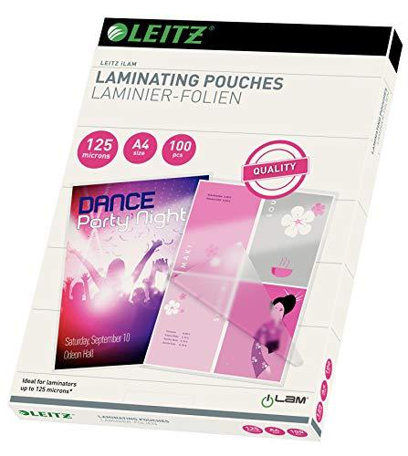 Leitz Heißlaminierfolien, A4, 100er Pack, Glänzend, Transparent, Folienstärke 125 mic, 33808
