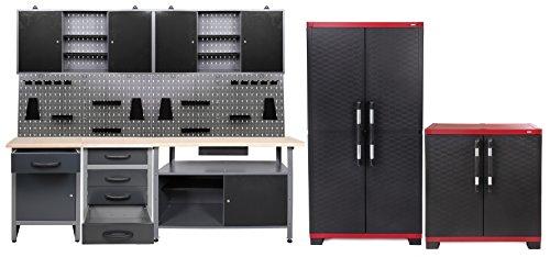 Werkstatteinrichtung Set 240 cm, 4 Schränke + 3 Werkbänke + Lochwand