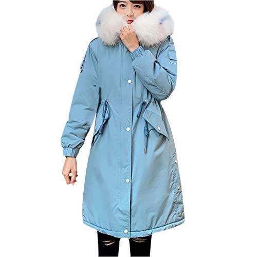 WRWYOSF Mantel Damen Winterjacke Mode Oberbekleidung Langarm Kapuzenjacken Coat Baumwolle gepolsterte Taschen Bandage Mäntel