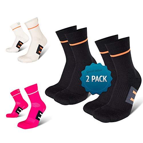 Hochwertige Laufsocken, perfekte Passform und höchster Komfort, Fußgewölbestütze, Anti-Blasenbildung, ideal für Laufen, Joggen, Radsport, Fitness und Alltag, Hergestellt in der EU (2-Paar)