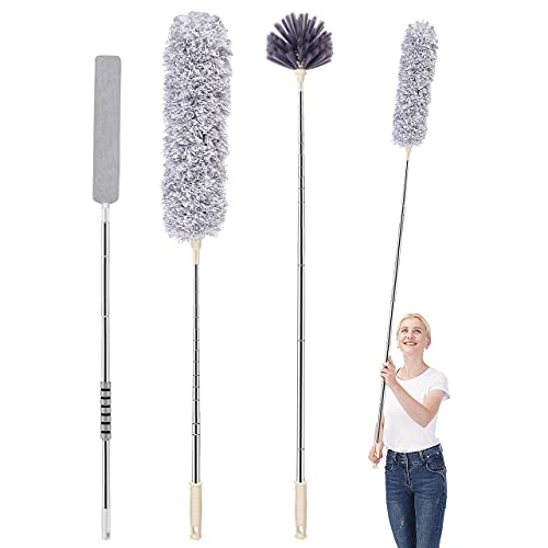 Microfiber Duster, MOUCHOT Feather Duster Kit with 100 Inch Telescoping Extension Pole, Reusable Bendable Detachable Washable Dusters for Cleaning Ceiling Fan, Cars, Cobweb, Gap, Corner.