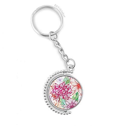DIYthinker Farbe Dekoration Blume Pflanze Pompon Drehbare Schlüsselanhänger Ringe 1.2 Zoll x 3.5 Zoll Mehrfarbig
