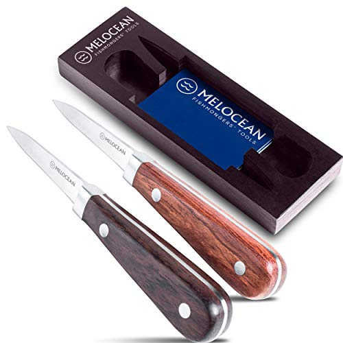 Oyster Shucking Knife Set of 2 - Professional Oyster Knife Shucker Clam Opener Kit in Lovely Box - Bonus Ebook and Brochure Included