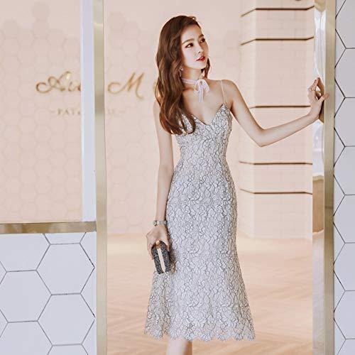 BINGQZ Jurk/Cocktail Jurken/Casual Sling jurk zomer vrouwen kant opengewerkte kleine duidelijke jurk zorgvuldig machine lange rok vrouw