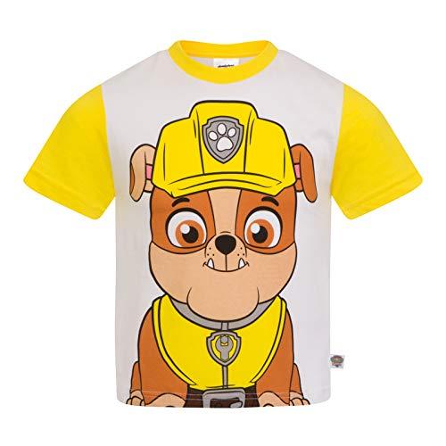 Paw Patrol - Kinder T-Shirt mit Figuren wie Rocky Chase Rubble & Skye - Offizielles Merchandise - Geschenk - Gelb - 4-5Jahre