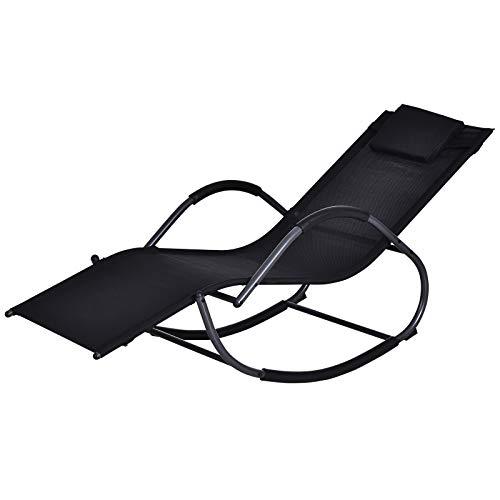 Outsunny Patio Textilene Rocking Lounge Chair Zero Gravity Rocker Outdoor Patio Garden Recliner Seat w/Padded Pillow - Black