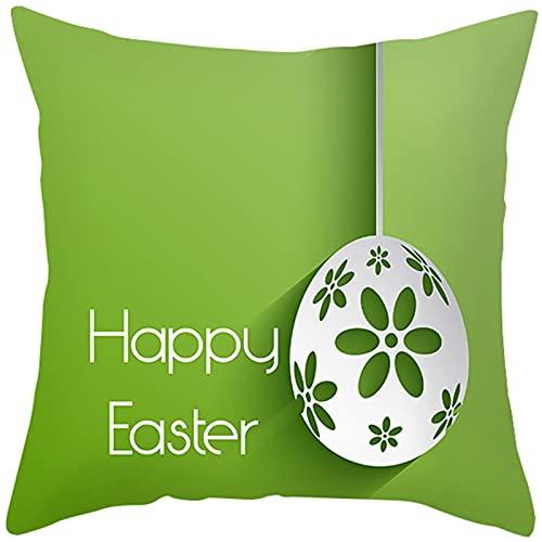 Banemi Fundas 50X50cm Cojines, Huevos de Pascua con Flores Poliéster Verde para Cama, Oficina, Café, Exterior