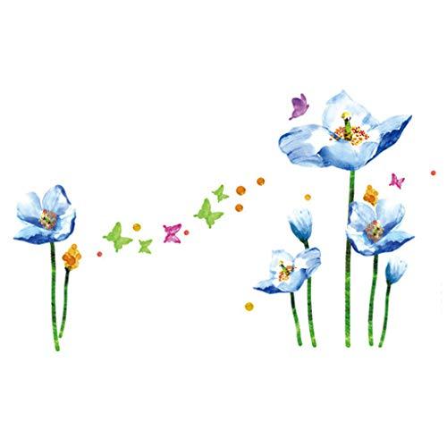 Pegatinas de pared con diseño de mariposas y flores de dibujos animados, marcos de fotos extraíbles, decoración del hogar, decoración de PVC, mural, para bebés, niños, para dormitorio, cocina, decoración de pared, carteles (flores azules, mariposas coloridas)