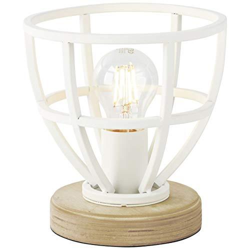 BRILLIANT lamp Matrix Wood tafellamp 18cm wit mat |1x A60, E27, 40W, geschikt voor normale lampen (niet inbegrepen) |Schaal A ++ tot E |Met snoerschakelaar