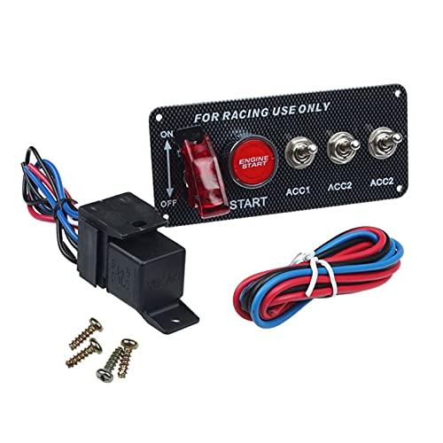 Yuquanxin Racing Car Auto Motor Inicio Interruptor Motor Inicio Inicio Pulsador LED Rojo Durable (Color : Black)