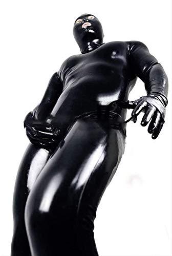 ALASON Mono de Cuerpo de PVC de Cuero de Vinilo Sexy para Hombres y Mujeres para Clubwear con Cremallera en la Entrepierna Traje de lencería Ropa erótica Catsuit de látex,Negro,L