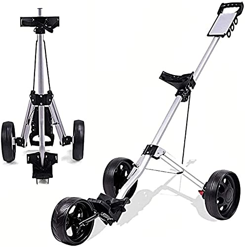 TUHFG Chariot de Golf Pliant One-Click Panier de Golf ppky, 3 Roues de Golf Chariot pivotant Un deuxième Chariot de Golf Pliant avec Frein à Pied de Tableau de Bord, Push Pull Golf Chariots