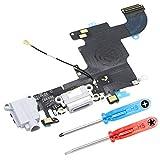MMOBIEL Conector Dock de Carga Compatible con iPhone 6S (Oro Rosa) de Repuesto Puerto USB, Cable Flex, Micrófono, Audiojack, Antena y botón de Inicio Instalado, Incl. 2 x Destornilladores
