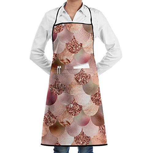 Delantal de chef con diseño de escamas de sirena, color oro rosa, con purpurina, para mujer y hombre, divertido delantal para barbacoa, delantal ajustable con bolsillos