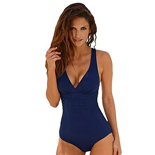SEDEX Bañadores de Mujer Sexy Cuello en V Profundo Natacion Trajes de Baño de Una Pieza Monokinis Natacióncon Relleno Push up Halter Ropa de Baño Playa(Azul) (Azul, L)