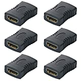 GTIWUNG 6Pcs Acoplador HDMI, HDMI Acoplador Hembra a Hembra, Empalme HDMI Hembra, Chapado en Oro de Alta Velocidad HDMI Hembra Acoplador
