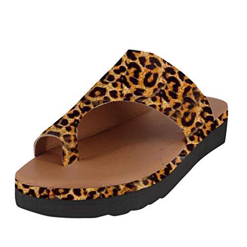 Yvelands Moda para Mujer Pisos Leopardo Cuñas Zapatos de Playa con Punta Abierta Zapatillas Romanas Sandalias(Amarillo,37)