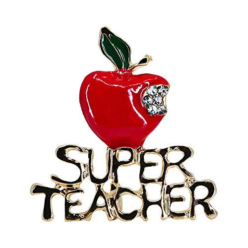 Sincerely For You – Best Teacher End of Year Dankeschön Geschenkset rote Emaille Apfel Brosche Geschenkset für Frauen Weihnachten