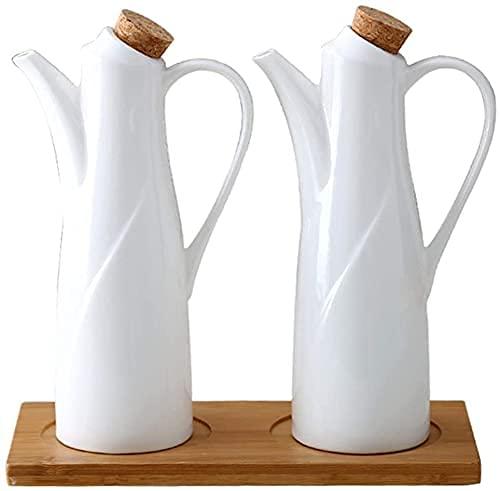 Botes de vinagre de aceite, aceitera y vinagreta, 2 piezas de cerámica, botellas de aceite + paleta de madera, botella dispensadora de cerámica, aceite de oliva, salsa de soja, vinagre, vinagrera