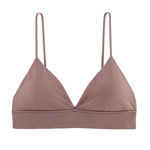 INIBUD Bralette for Women Triangle Cups Removable Padded Wire Free Pull On Closure (Brown Sugar, S)