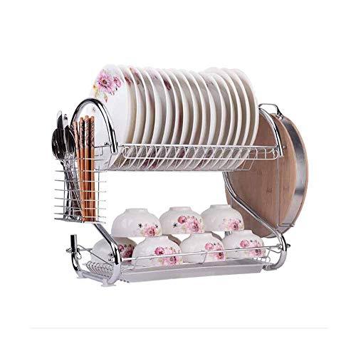 LYGACX Zweischichtiges Geschirrregal, Küchen-Multifunktions-Abflussregal, Edelstahl, Dosenbecher, Messer und Gabeln, Schneidebretter, Geschirr,Dish Rack Cutting Board