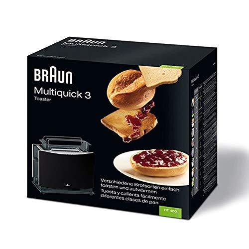 Braun Multiquick 3 HT450 broodrooster, dubbele sleuf broodrooster met broodjes, ontdooifunctie, kruimellade, warmte-geïsoleerde behuizing, zwart [energieklasse A]