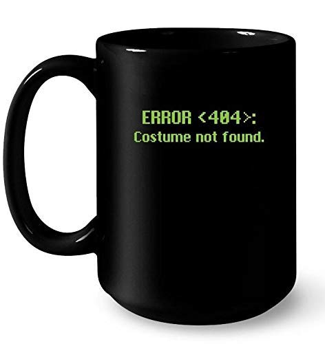 N\A Taza Error 404 Disfraz no Encontrado Halloween Taza Divertida Regalo Blanco
