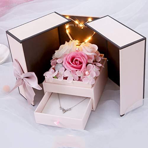 Fdnmld Damen Halskette Bad Seife Rose duftende Seife Blumen Freundin,Muttertag,Hochzeitstag, Hochzeit, Geburtstag,Weihnachts,Ewige Rose Blume