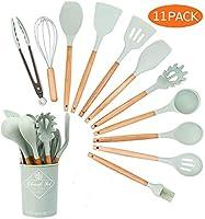 juju kitchen craft set utensili da cucina silicone e legno(11pezzi),alta tolleranza al calore, non tossico, padella antiaderenteper cottura e utensili da cucina