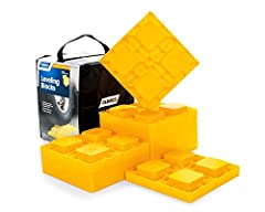 10 interlocking blocks stack to the desired height for safe and easy leveling Strong and durable construction Solid bottom to help keep them from sinking in soft ground Includes zippered storage bag with handle Each leveling block measures 8.5 inch x...