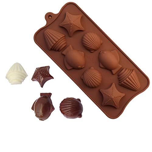 Silicone Chocolate Molds, Chocolate Candy Mold, Christmas Cake Chocolate Making Molds Hard Chocolate Molds Kit for Kid, Men, Women Baking (1PC-fish,star,8 Holes)