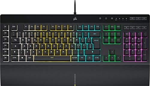 Corsair K55 RGB PRO Teclado para Juegos con Teclas de Membrana, Retroiluminación RGB Dinámica, 6 Teclas Macro con Integración el Software Elgato, Resistencia al Polvo y los Derrames, QWERTY, Negro