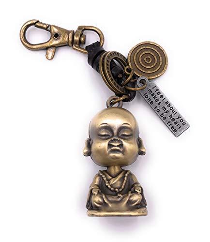 H-Customs Buddha Figur Goa Schlüsselanhänger Anhänger aus Metall Bronze