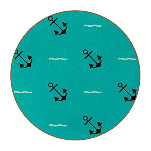 Posavasos verde con diseño de ancla marina para bebidas, regalos traviesos para decoración de apartamentos, posavasos de cuero para proteger tus muebles de manchas, 6 unidades